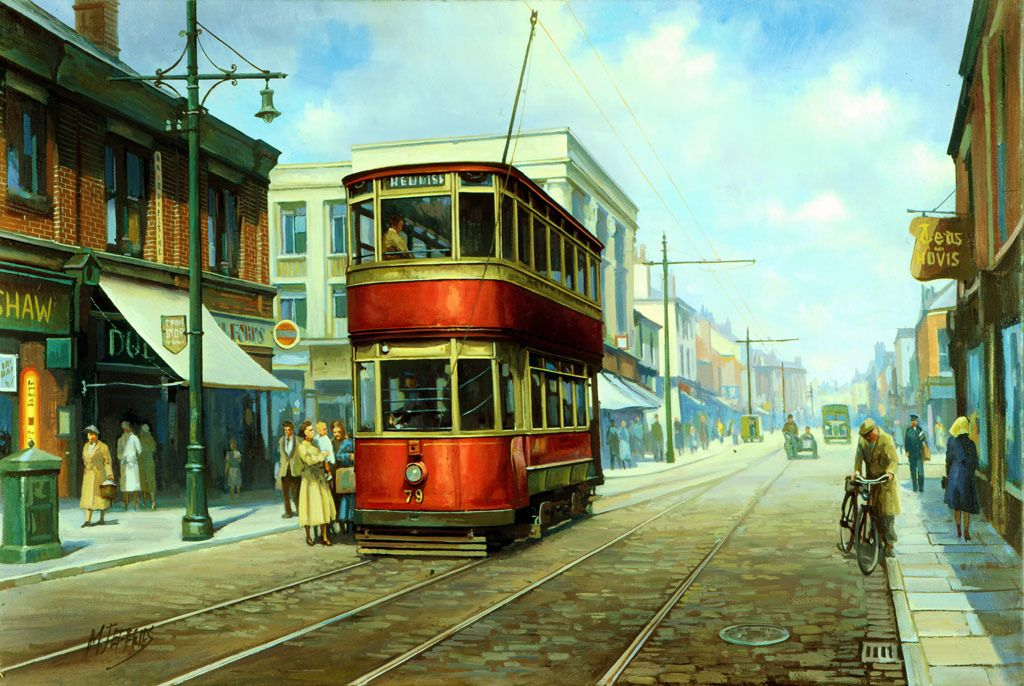 Buses and trams artist Mike Jeffries.