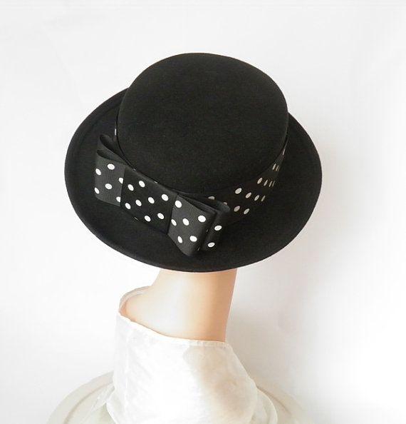 Vintage fedora hat/ black tilt with polka dot hatband