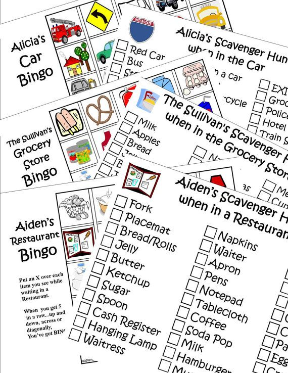 Print 6 Travel Games. Personalized Bingo and Scavenger Hunt (or I Spy) for