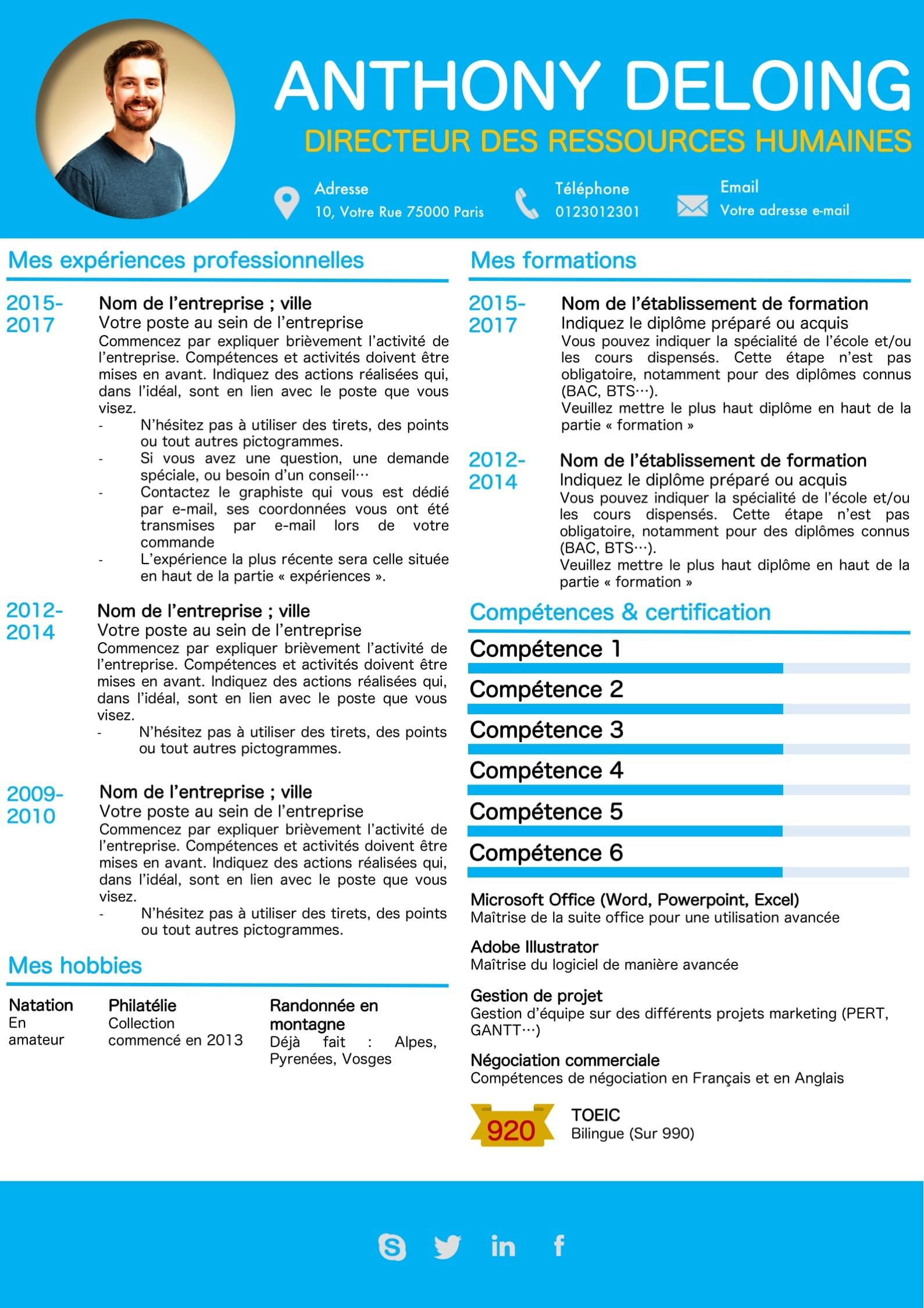 Modeles Cv Et Lettre De Motivation Bleu Modifiable Pour 6 99 Modele De Cv Design Lettre De Motivation Exemple Cv