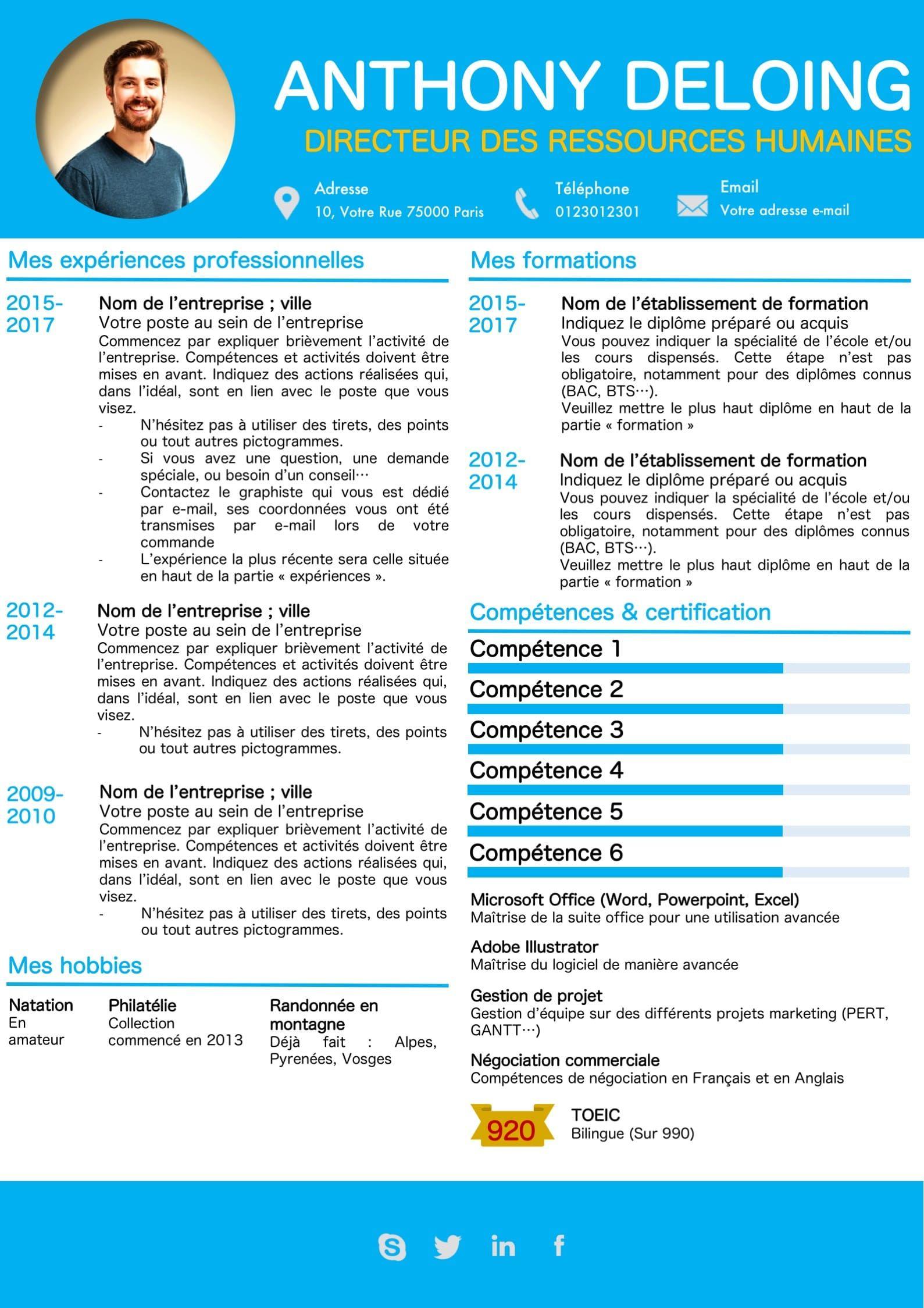 cv bleu ciel  cv avec comp u00e9tences en forme de barre  possibilit u00e9 de mettre des certifications