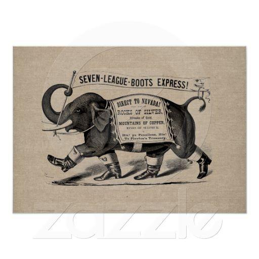 Vintage elephant graphic Victorian ad burlap linen Posters