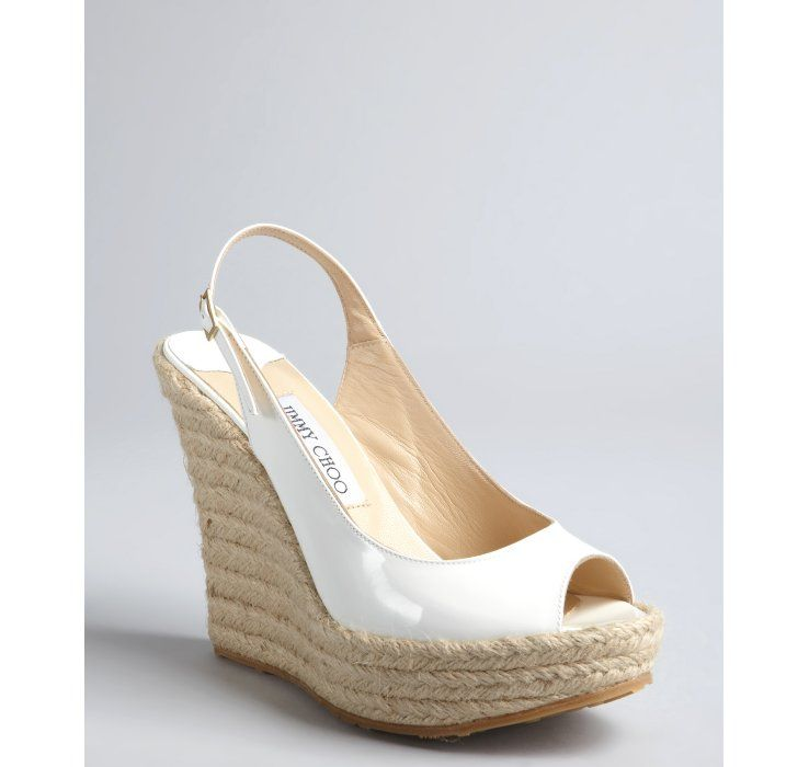 Jimmy Choo white patent leather 'Polar' espadrille slingback wedges