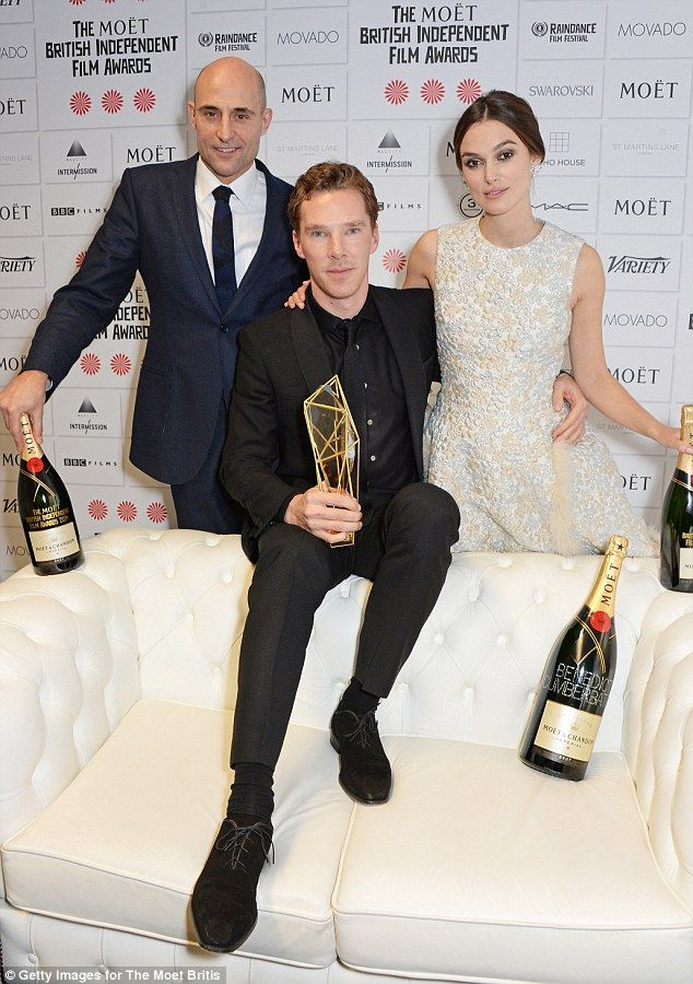 Pose for cameras: Benedict with Mark Strong and his Imitation Game co-star Keira following his win