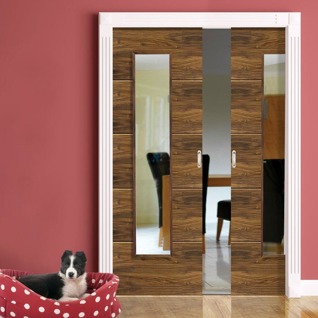 Double Pocket Parisienne Walnut Decorative Grooves Sliding Door System In Three Size Widths With Clear G Sliding Door Systems Sliding Pocket Doors Pocket Doors