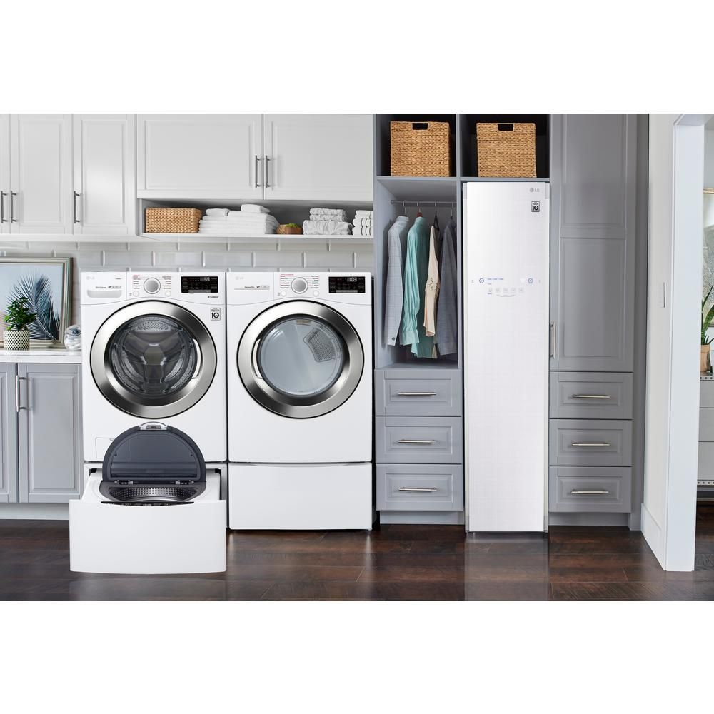 Lg Electronics Styler Smart Home Steam Clothing Care System With Wi Fi Enabled Asthma And Allergy Friendly Sanitizer In White S3wfbn The Home Depot In 2020 Laundry Room Storage Laundry Room Storage