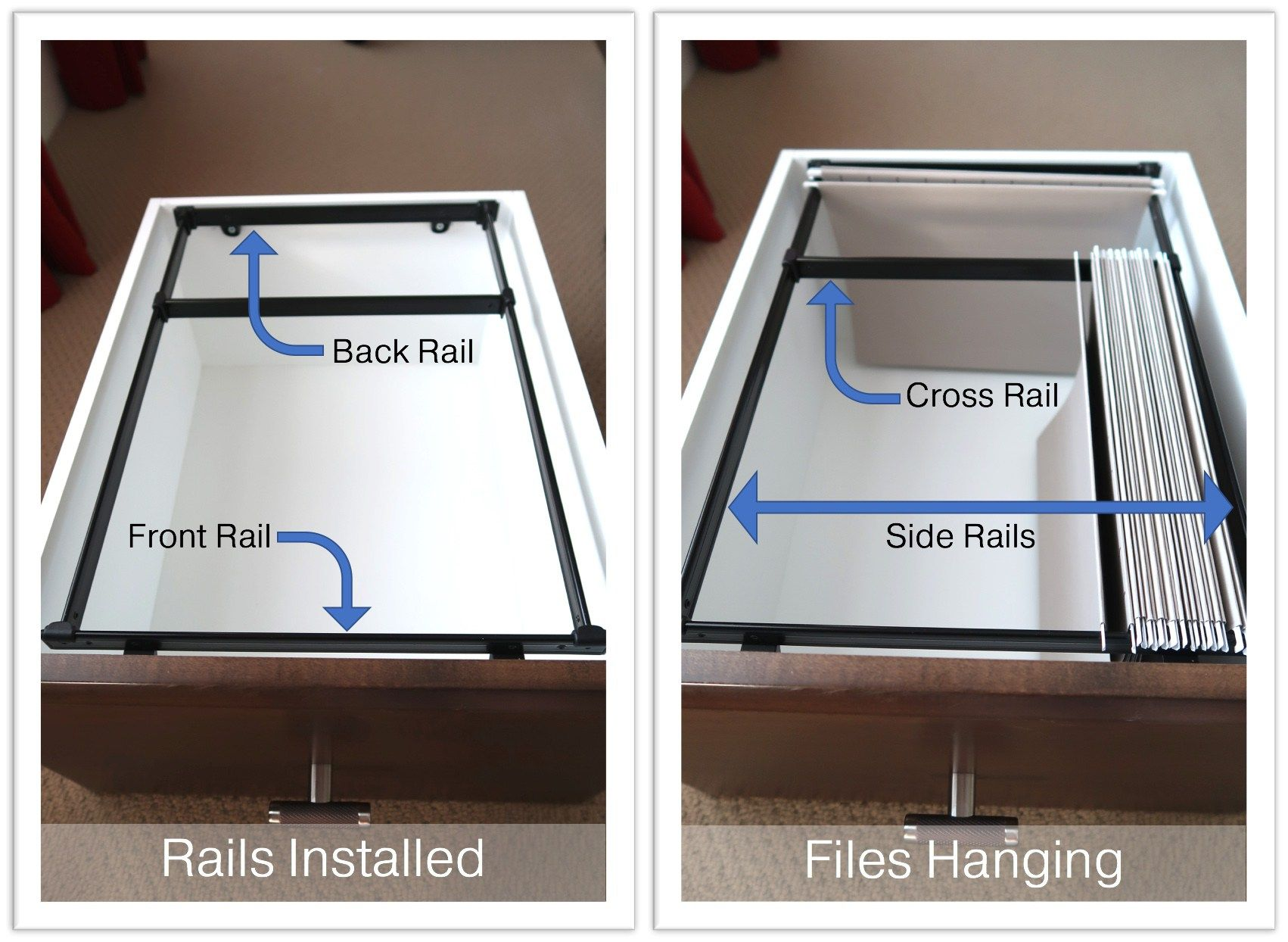 file cabinet without hanging rails