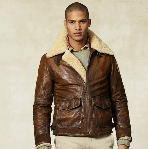 Rugby Ralph Lauren Mouton Leather Flight Jacket (the collar on