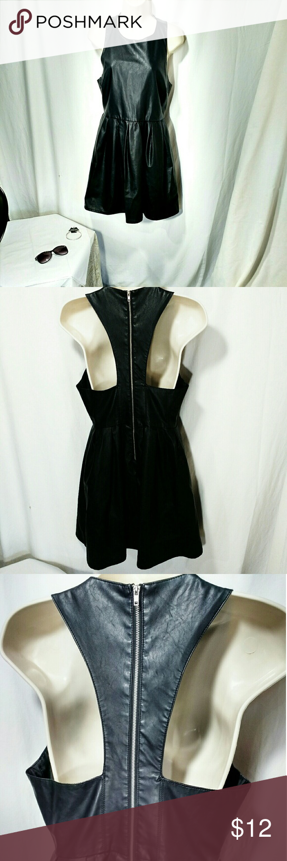 Forever 21 Black Racerback Dress Skater Style Dress Casual Outfits Faux Leather Dress [ 1740 x 580 Pixel ]