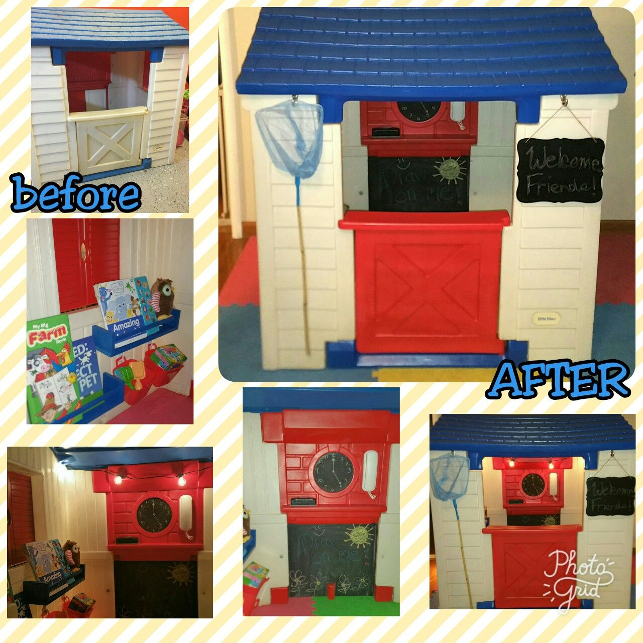 playhouse makeover DIY renovation play house Little Tikes