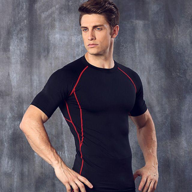 新しい半袖スポーツ tシャツ圧縮シャツ男性フィット ネス タイツ ジム トップス クイック ドライ弾性服camiseta masculina