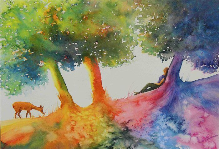rencontre magique / magical encounter / watercolor by isabelle garnier