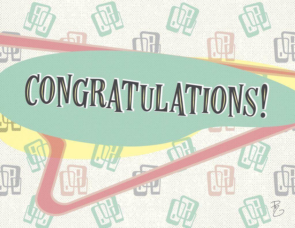 Congratulations card midcentury modern