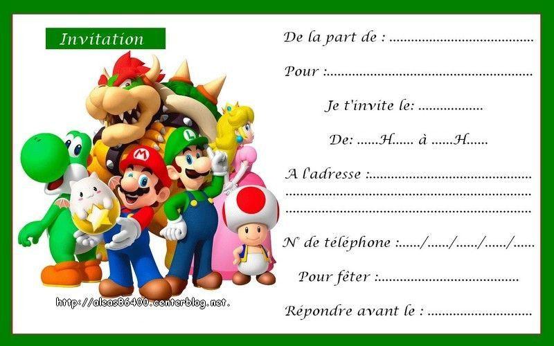 Carte D Anniversaire Invitation Mario Lovely Cartes Mario Carte Anniversaire Carte Invitation Anniversaire Gratuite Carte Invitation Anniversaire