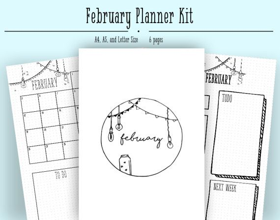 February Monthly Layout Pdf In A4 A5 And Letter Bullet