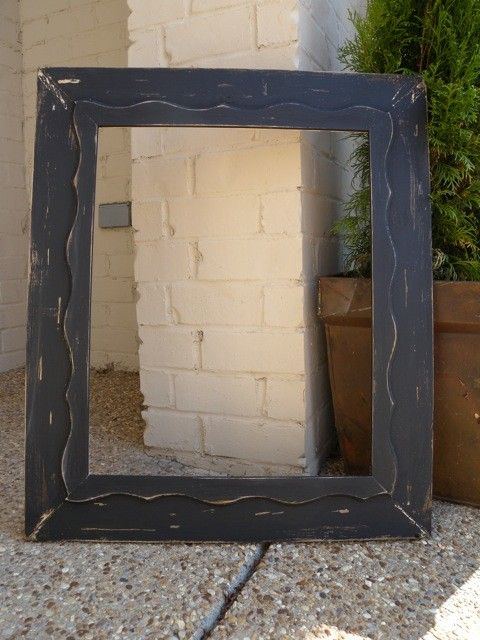 Madera pintada negra apenado foto marco 16 x 20 ondulado Trim, mano ...
