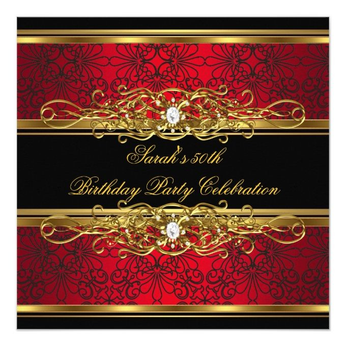 Elegant 50th Birthday Party Red Black Gold Damask Card 50 birthday