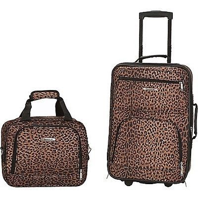 Rockland 2 Piece Carry-on Luggage Set Expandable Leopard Print ...