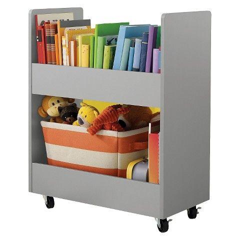 Circo Toy Rolling Cart With Paper Veneer Grey Kids Book Storage Toy Storage Rolling Storage