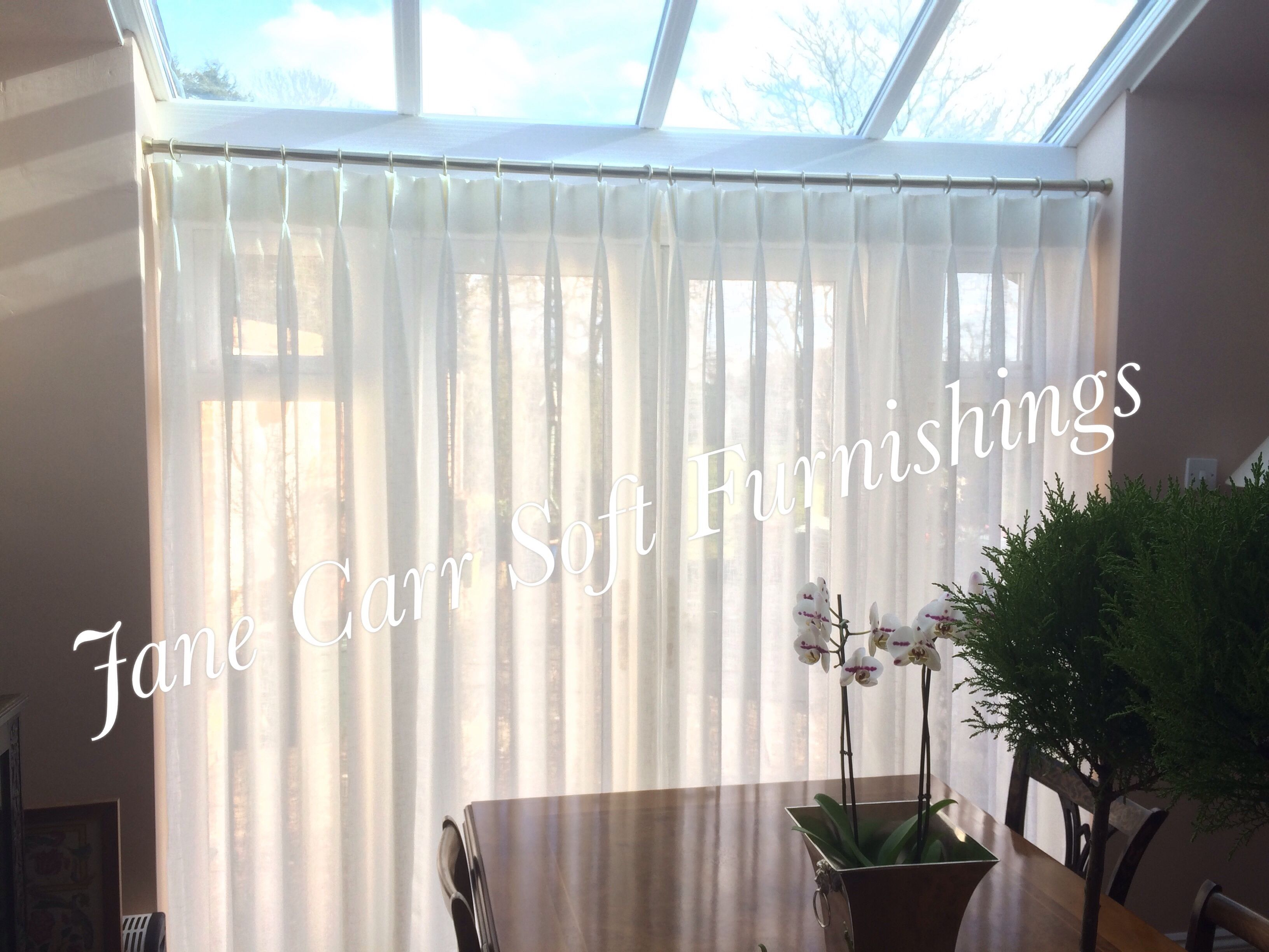 Double Pinch Pleat Headed Voile Curtains On Recess Fitted