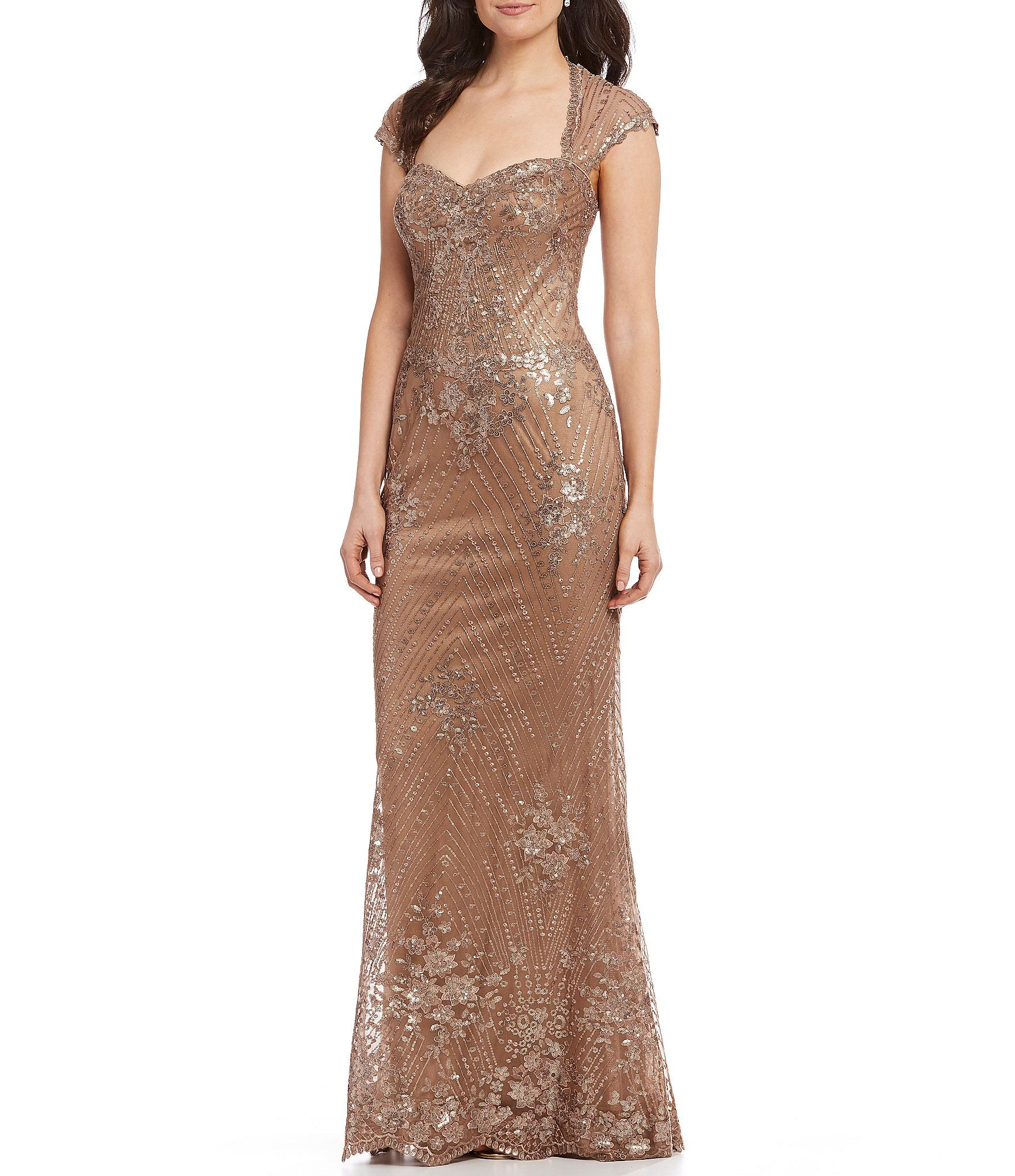 Shop for mon cheri metallic sequin lace mermaid gown at dillards