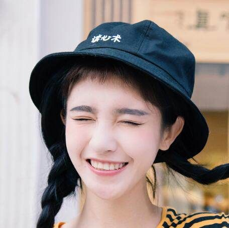 6b5aefe06eb Du xin shu embroidered bucket hat for teenage girls cotton hats ...