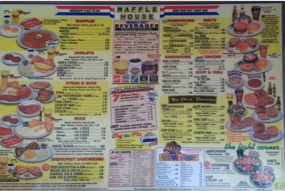 Waffle House Menu Sorry Tucson I Took It But As Americana As It Gets And Really Just Recommend The Waffles Waffle House Menu Waffle House Waffles