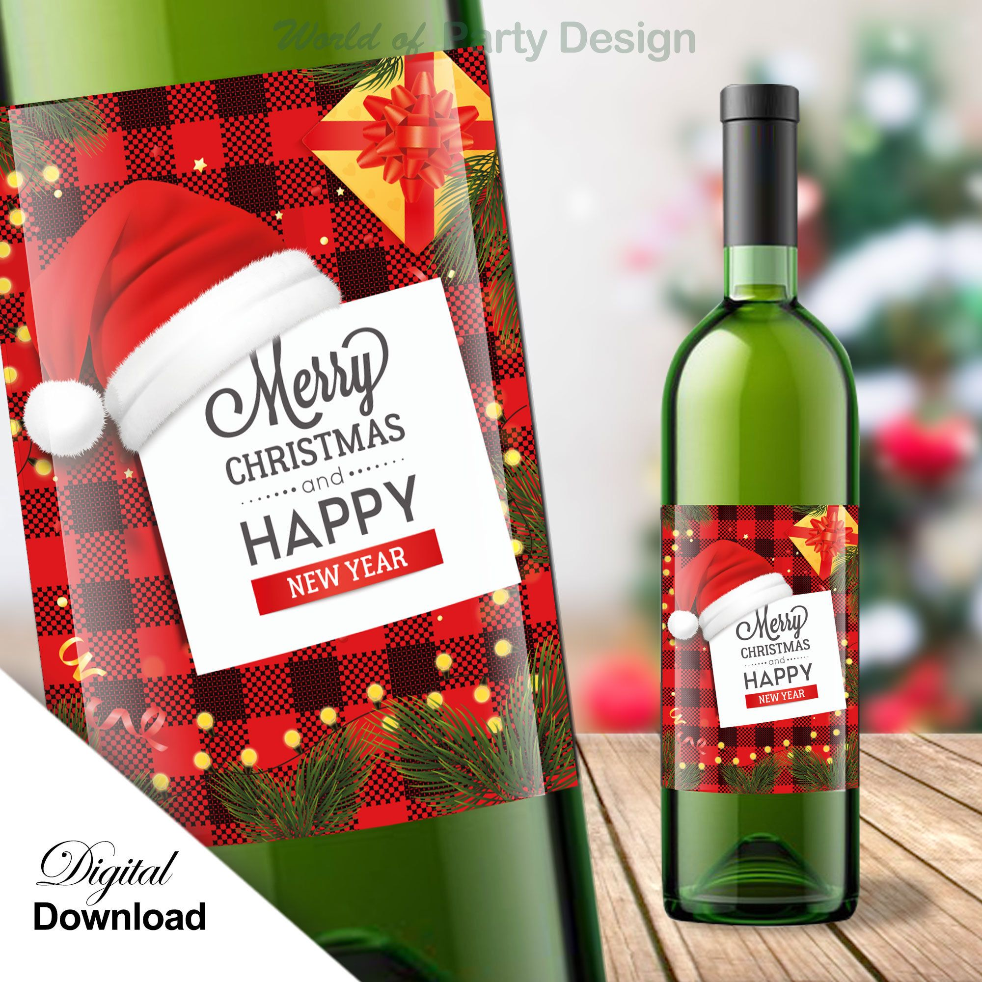 Wine Bottle Label Holiday Plaid Printable Tags Merry Christmas Alternative Gift Snowflake Xmas Diy Happy New Year Instant Download