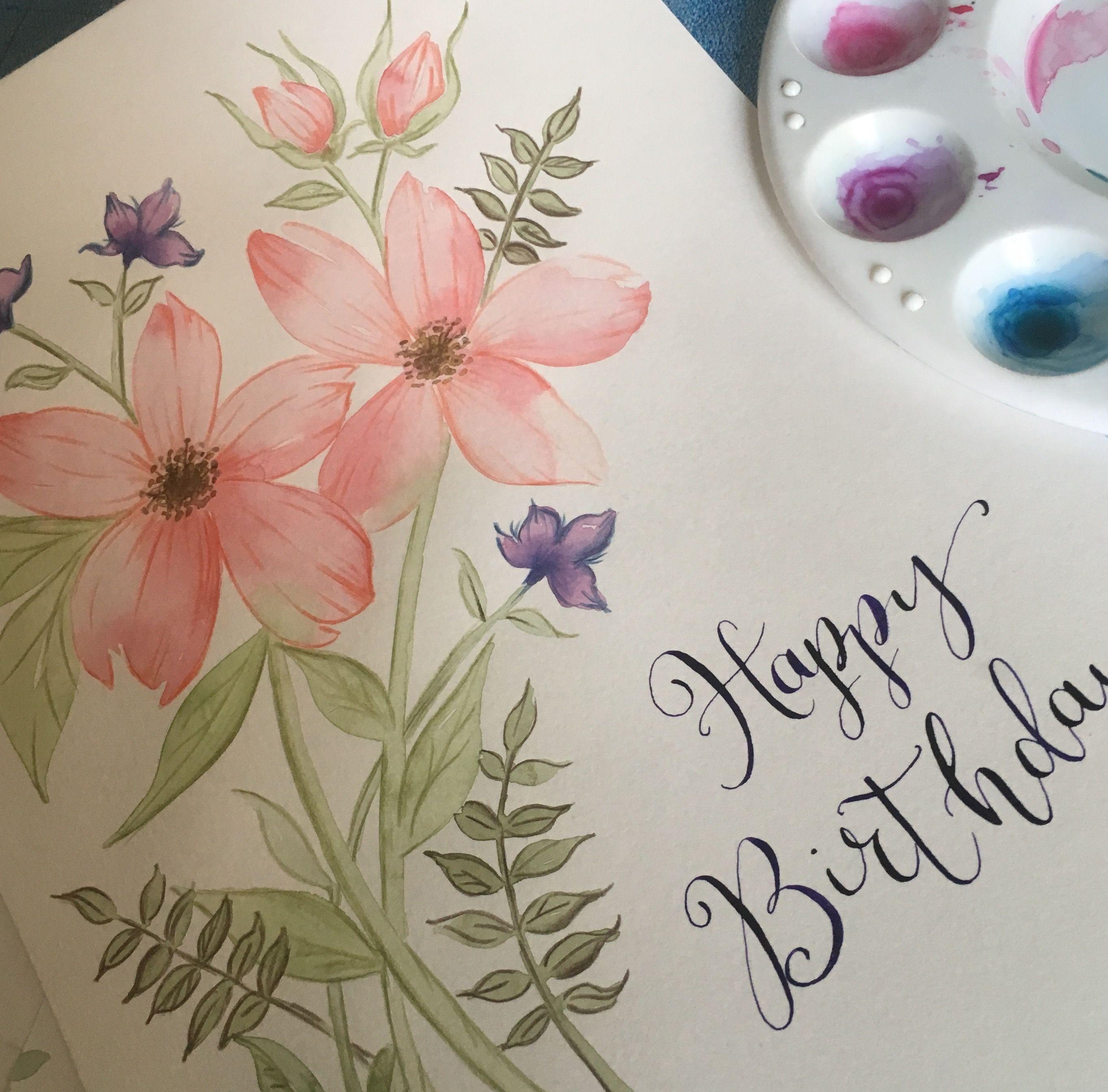 Card Design Greetings Card Birthday Card Flower Art Hand
