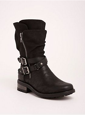 5b3b7fe90f6c ... kick with these moto boots. Distressed black faux leather has vintage  appeal
