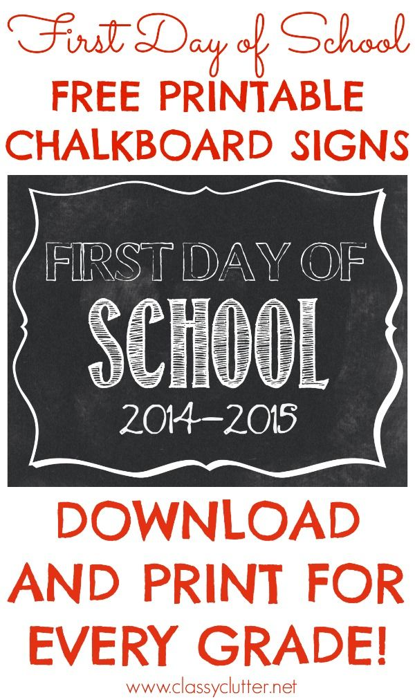 First Day of School Free Printable Signs | Free printable and School