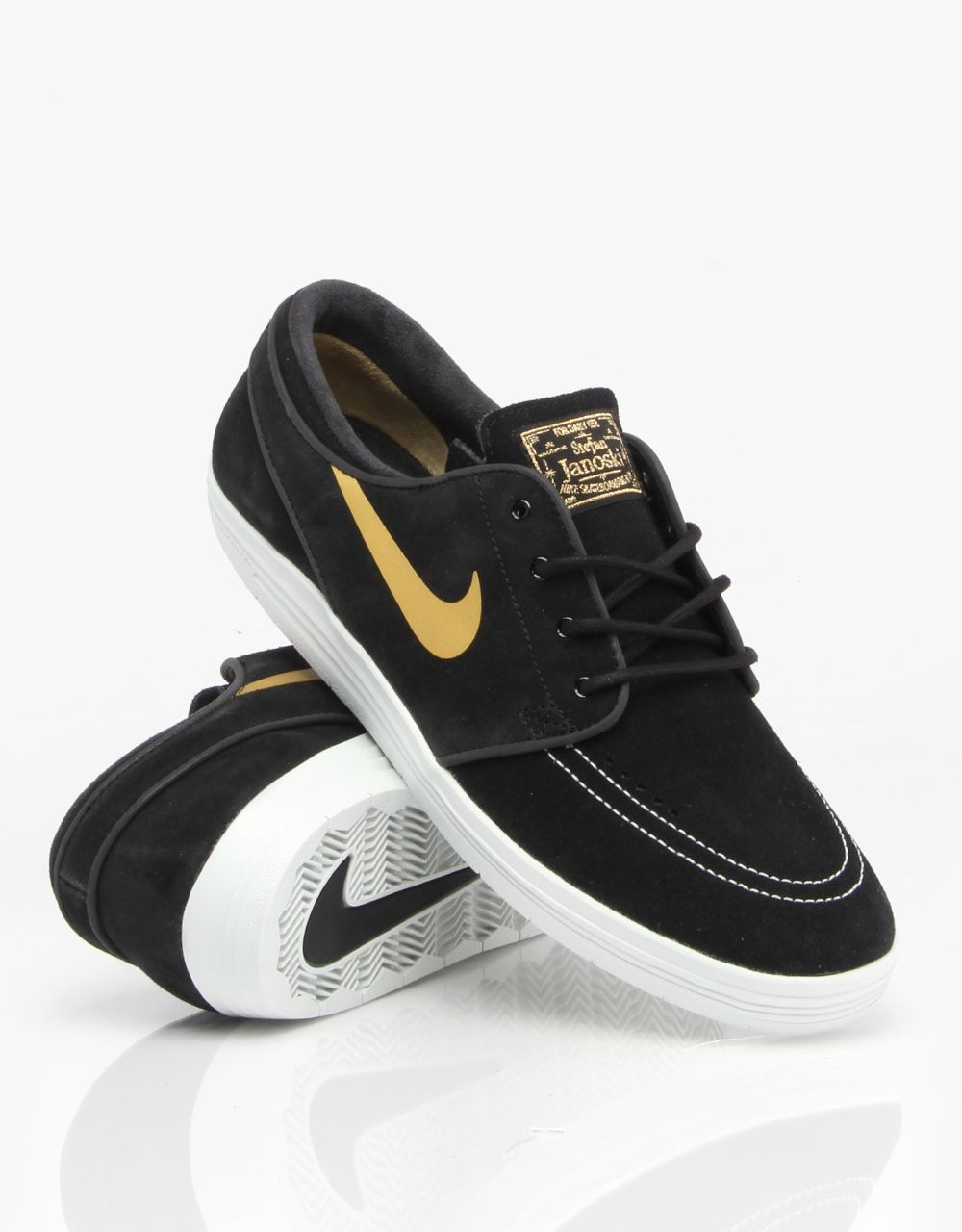 8e2695fff67 Nike SB Lunar Stefan Janoski Skate Shoes - Black Metallic Gold- White -  RouteOne.co.uk