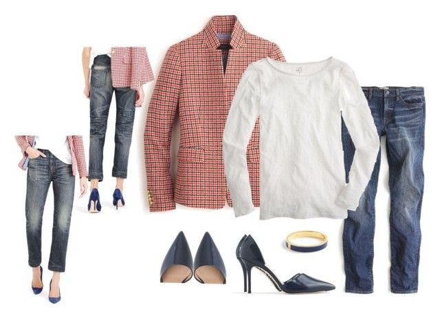 """""""Regent white navy denim"""" by justvisiting ❤ liked on Polyvore featuring J.Crew, Point Sur, women's clothing, women's fashion, women, female, woman, misses and juniors"""
