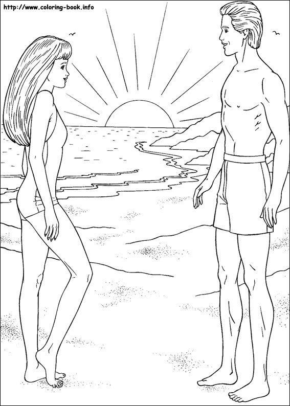 ken barbie coloring pages | Barbie coloring picture barbie and ken beach swim ...