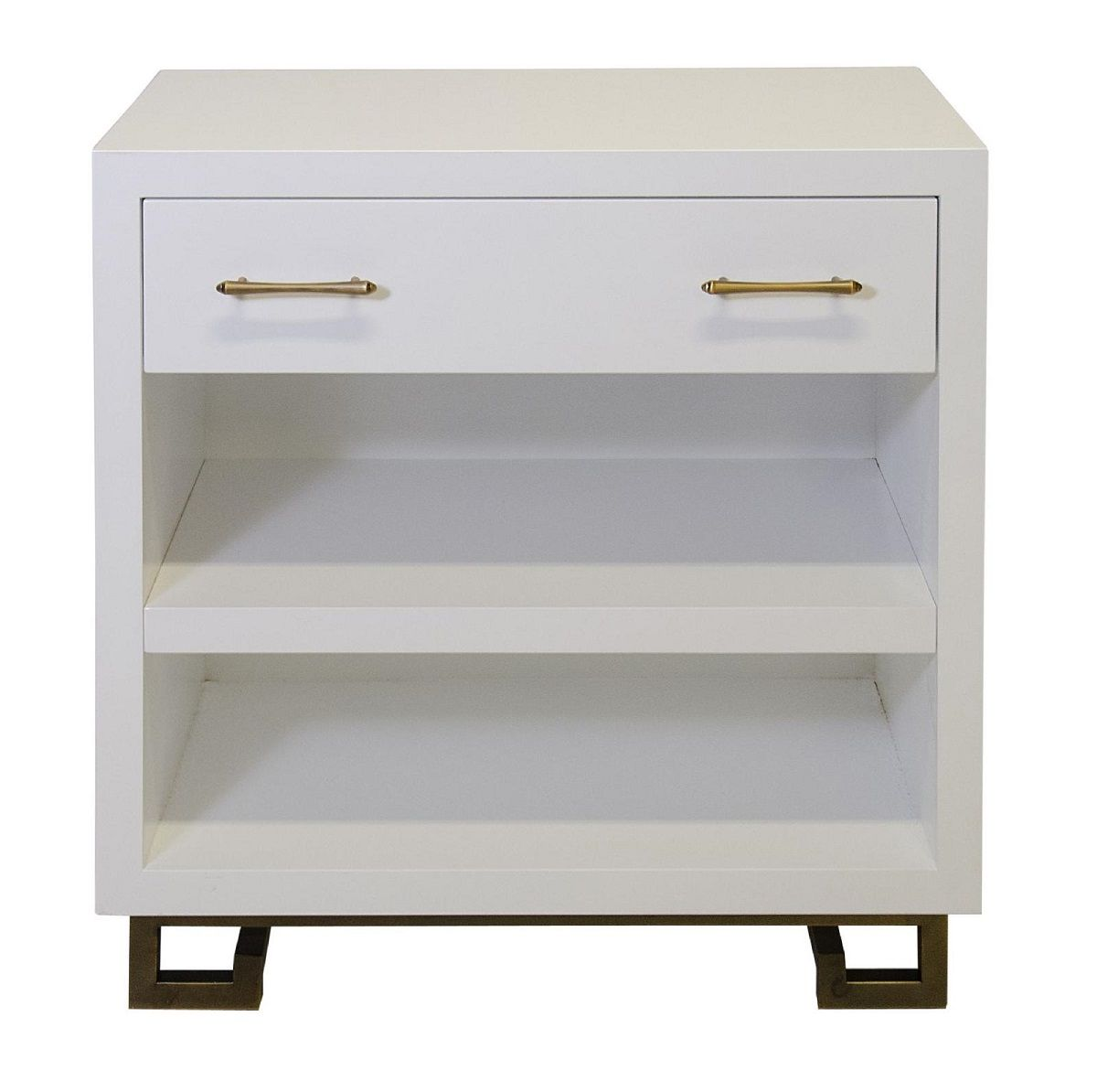 $1700 Contemporary White Nightstand * 1 Drawer, Open Shelving, High Gloss  Lacquer, Brass