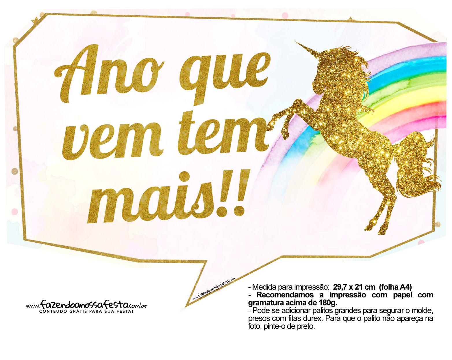Plaquinhas Divertidas Unicornio 21 Festa Unicornio Plaquinhas