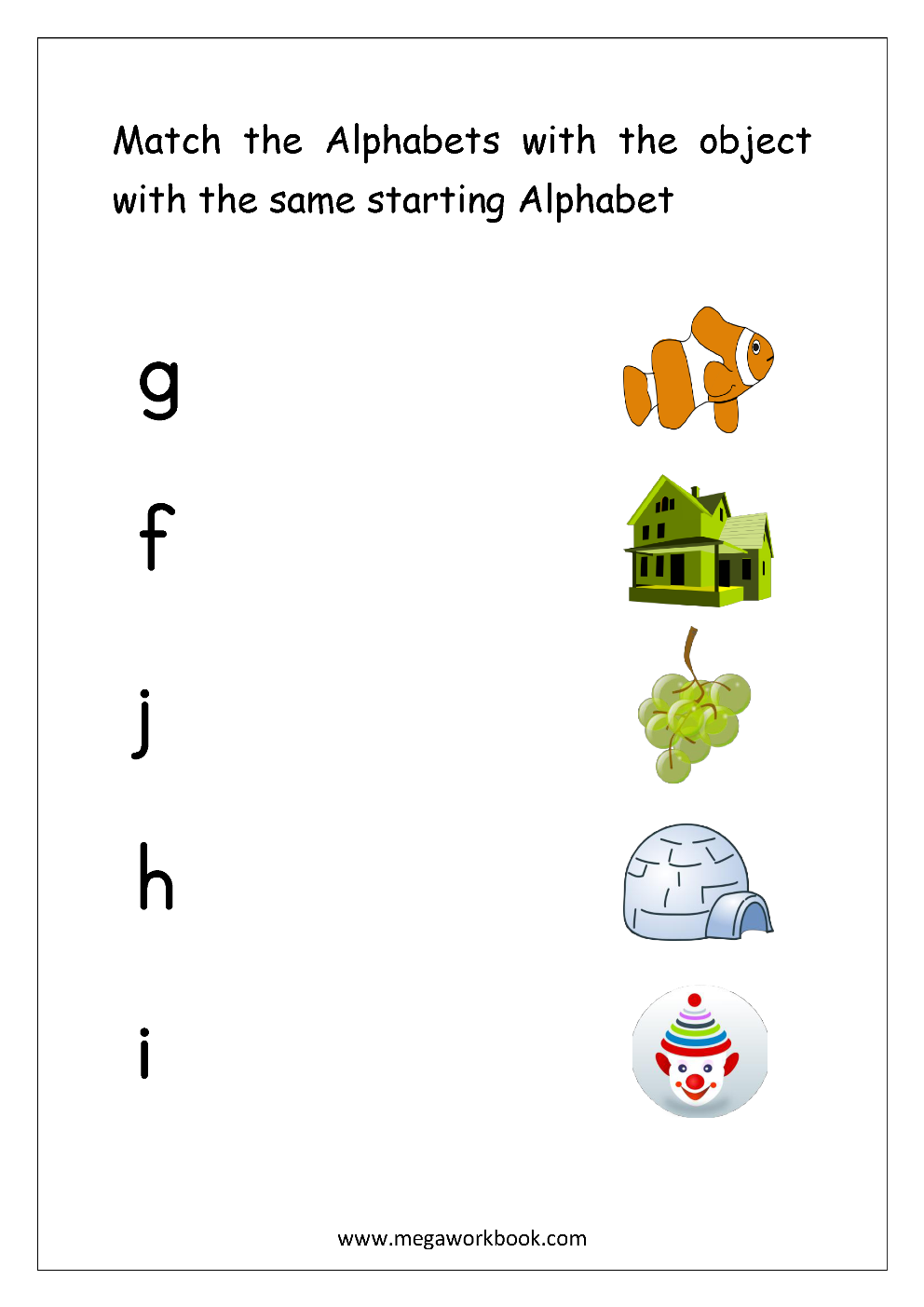 Worksheets Letter Matching Worksheets alphabet matching worksheets match object with the starting small letters