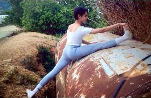 Nude teen boy yoga
