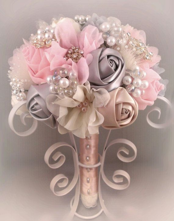 Romantic Fabric Flower and Brooch Bouquet - Blush Pink, Grey & Ivory ...
