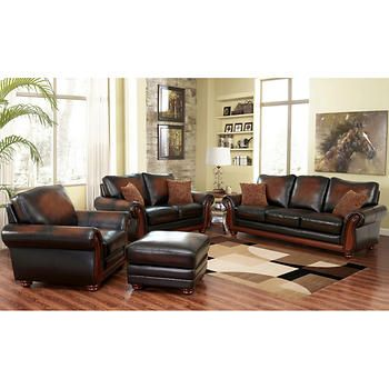 Bridgeville 4Piece Top Grain Leather Living Room Set Endearing Living Rooms Sets Review