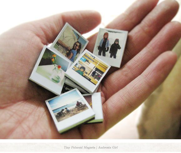 DIY Tiny Polaroids...  directions are for magnets but I bet you could tweak this for swaps!