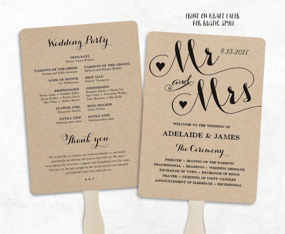 wedding fans  printable wedding fan program template  fan
