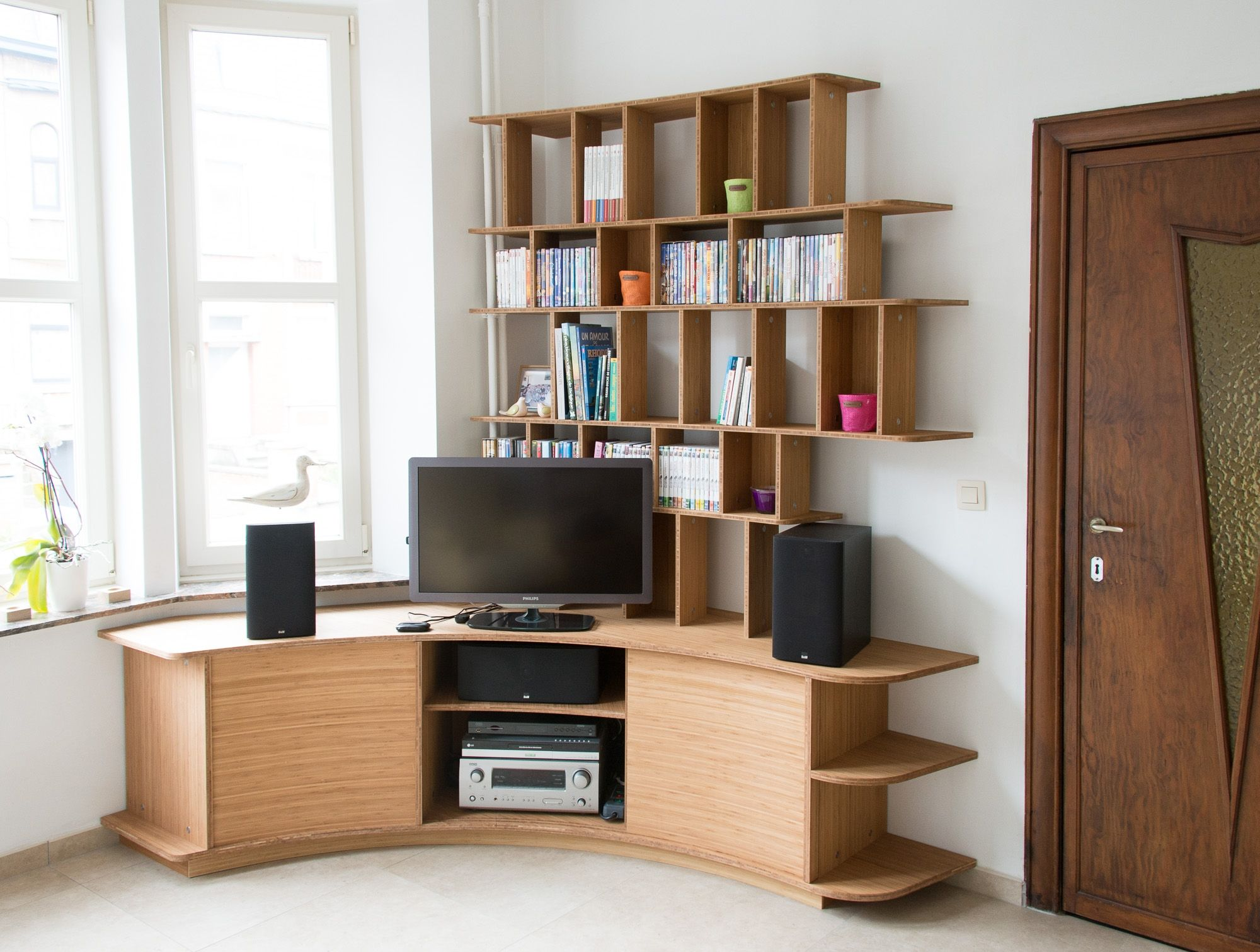 Custom made TV stand and bookshelf in Philippe\'s living room ...