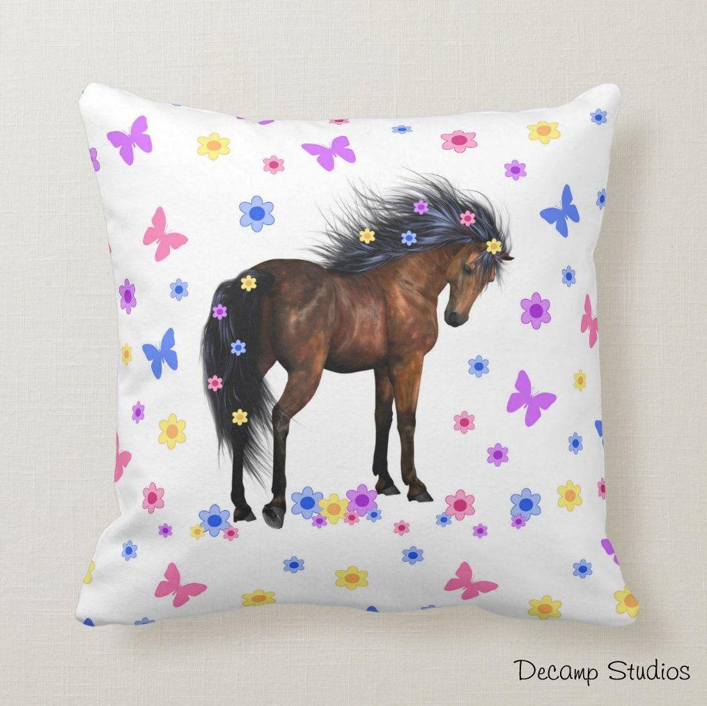 Horse pillow girl bedding bedroom decor etsy in 2020