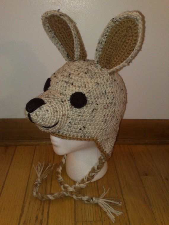 Free Crochet Animal Hat Patterns With Ear Flaps : Kangaroo Hat, Crochet Kangaroo Hat, Ear Flap Kangaroo Hat ...