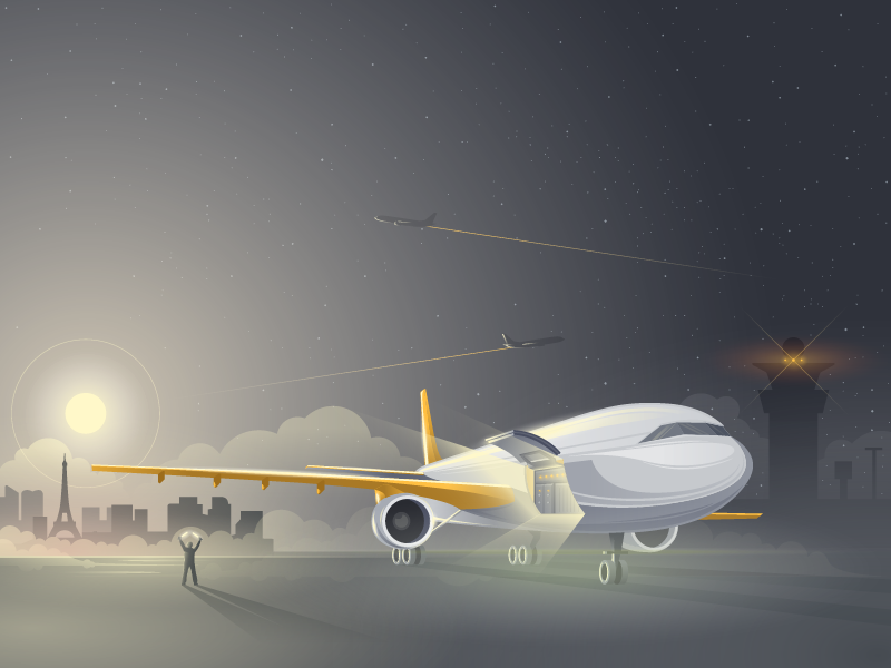 Loading Up The Mailjet Illustration Painting Passenger Jet