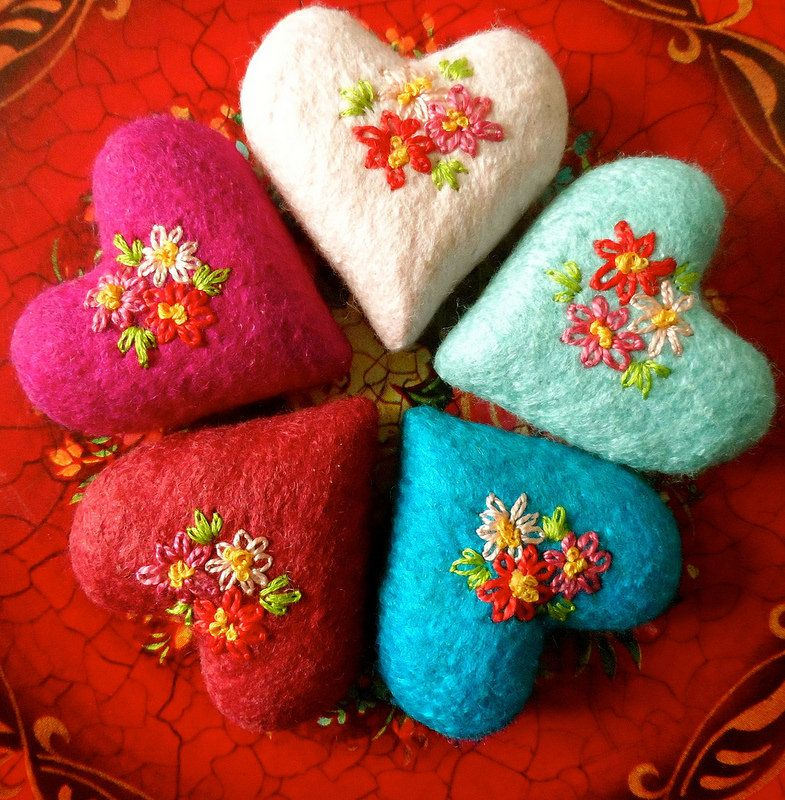 little hearts, felted, embroidered