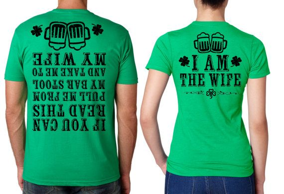 e29b528c7a32 St Patrick's Day Green T-shirts for Couple Matching Tees Wife Husband Party Irish  St. Paddy's St. Pa