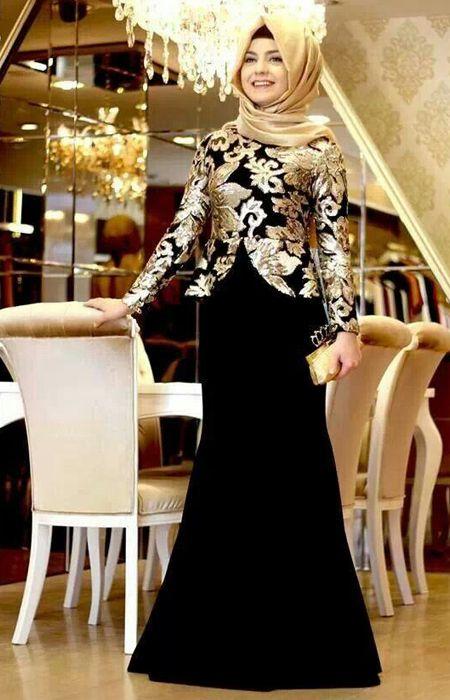 Gaun Pesta Modern Muslim Glamour Modern Hijab Fashion Hijab
