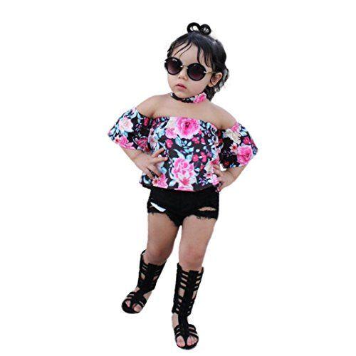 35f4a51e9d5 Ankola Baby Clothes Set, 3Pcs Baby Kids Girls Off Shoulder Crop Tops ...